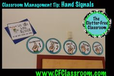 During individual work, students put up fingers for what they need (bathroom, tissue, water, etc.) so that the teacher can nod to acknowledge the request without having to stop what she is doing with another child or have a long discussion about what the student needs. Visual reminders are hung in the room to show what each number stands for. 6374