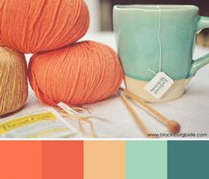 orange and teal...this is just what I was thinkin...my comforter's about that orange + a little brighter...and then I could dye the sheets the color of the mug!! beautiful!!