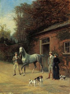 CHANGING HORSES CARRIAGE TRAVEL COUNTRYSIDE PAINTING BY HEYWOOD HARDY REPRO