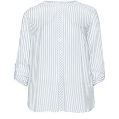 Via Appia Due Blue / White Plus Size Roll up sleeve striped shirt (4.625 RUB) via Polyvore featuring tops, blue, plus size, women's plus size shirts, blue striped shirt, plus size tops, white top и women's plus size tops