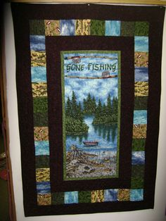 GONE FISHING Quilt Wall Hanging by Elly's Yarn by eleanorholland. $95.00, via Etsy.
