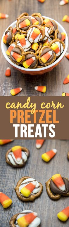 These Candy Corn Pretzel Treats are only 3 ingredients and they're the perfect for the Halloween season!