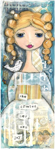 """she created her own joy"" mixed media artwork by Toni Burt.   Features vintage papers and old wallpaper, acrylic paints, oil paints and sticks."