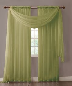 """Warm Home Designs extra wide Sage Green curtains have total width of 112 inches. 2 panels (1 pair) is included in a package. Rod pocket insert will fit most rods up to 2"""" in diameter. Both scarf and curtain sheers are made from high-quality polyester and are designed to let most of the sun light through while offering some privacy at night."""