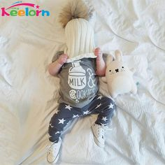 Keelorn Baby Clothing Sets 2017 Spring Summer Baby Boy Clothes Milk Bottle Printed short sleeve T-shirt+pants 2Pcs baby clothes #Affiliate