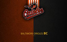 Download wallpapers Baltimore Orioles, 4K, American baseball club, leather texture, logo, MLB, Baltimore, Maryland, USA, Major League Baseball, emblem