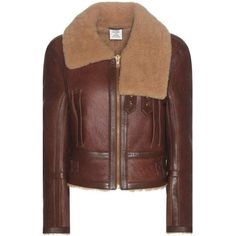 Vetements Shearling-Lined Leather Jacket ($4,200) ❤ liked on Polyvore featuring outerwear, jackets, vetements, brown, shearling lined jacket, brown jacket, shearling lined leather jacket, real leather jackets and genuine leather jackets