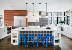 A vibrant kitchen by Studio Marchetti gets extra punch from Granada Tile's Fez cement tiles