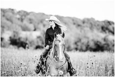 """Olivia Hodnett – Class of 2019 – with her barrel racing mare """"Roanhorse Rita"""" (Lucy) in the wildflowers at Crowley, Texas."""
