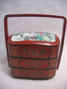 antique japan lacquer jubako bento stacking lunch box lunches antiques and bento. Black Bedroom Furniture Sets. Home Design Ideas