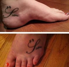 Sisters foot tattoo