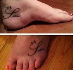 Sisters foot tattoo
