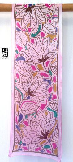 Handpainted Silk Scarf Pink Japanese Silk by SilkScarvesTakuyo