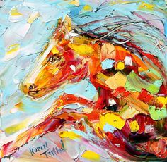 Original painting Modern EQUINE ABSTRACT HORSE palette knife oil fine art impressionism by Karen Tarlton. $45.00, via Etsy.