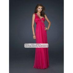 Chiffon One Shoulder Empire Waist Fuchsia Prom Dress PD34020 at belloprom.com