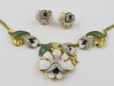 RARE Vintage 1939 CORO Lotus Blossom Necklace & Earrings SET Enamel & Rhinestone