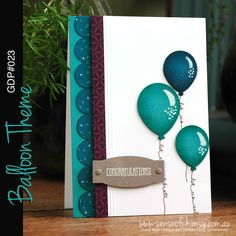 Global Design Project Balloons Theme Balloons And More, Up Balloons, Cute Cards, Diy Cards, Ballon Party, Congratulations Card, Handmade Birthday Cards, Card Sketches, Creative Cards
