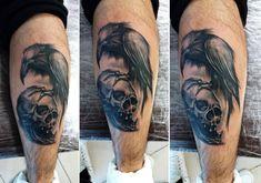 Realism tattoo on calves by Evgeniy Shelest Calf Tattoo, Tattoo Photos, Tattoos, Raven, Black And Grey, Skull, Realism Tattoo, Tatuajes, Tattoo