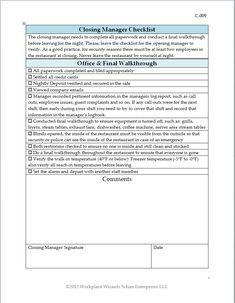 New Cumberland, Pennsylvania -restaurant management forms ...