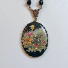 Pretty Parrot Bird Cabochon Glass Gun Black Locket Pendant Necklace