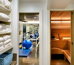 Towel storage in a separate area - preferably a bathroom complete with shower and whirlpool. Also like the mat in the gym area.  Crisp Architects