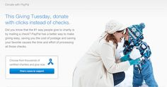 Starting on Giving Tuesday and through the end of December, PayPal is encouraging donors to 'Stamp Out Checks' by making their holiday charitable donations through the online payment processor. PayPal will donate $5.52 (the cost of 12 stamps) to one of thousands of certified charities with a $25 online donation up to $30,000.
