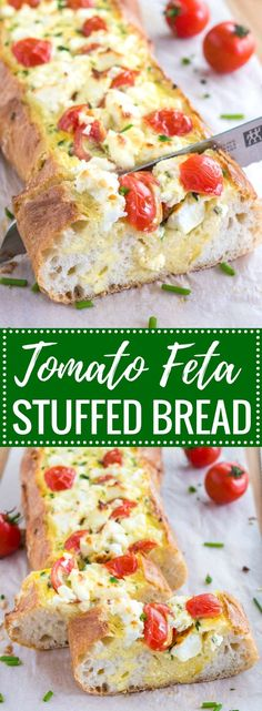 Tomato Feta Stuffed French Bread is so easy to make and bursting with fresh flavors! This bread boat is the ultimate appetizer for your next party but also perfect for a brunch or dinner for two.