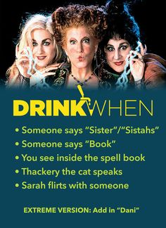 Drink When Hocus Pocus Drinking Game --  More games at www.drinkwhen.ca -- Halloween games, adult drinking games, disney drinking Hocus Pocus Drinking Game, Halloween Drinking Games, Drinking Game Rules, Halloween Games Adults, Adult Drinking Games, Halloween Snacks, Halloween Movies, Adult Games, Halloween Boo