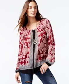 Lucky Brand Mixed-Print Peasant Top rayon red/black/white szS 99.00