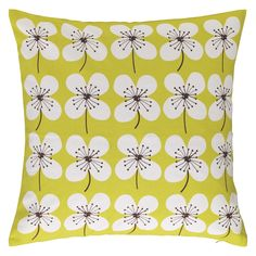 Dynamic Habitat Sakura Yellow Cushion with accompanying HSB Air Freshener Yellow Cushions, Scandi Style, Air Freshener, Soft Furnishings, Scandinavian Design, Habitats, Pattern Design, Colours, Floral