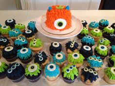Monster theme cupcakes and smash cake