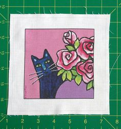 Black Cat Quilt Block Fabric Craft Panel by SusanFayePetProjects, $3.50
