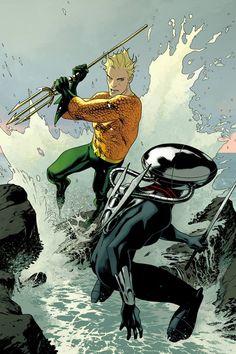 Aquaman vs Black Manta by Joshua Middleton