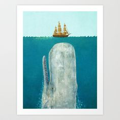 The Whale Art Print by Terry Fan - $19.00 http://society6.com/product/the-whale-vah_print?curator=SylviaCookPhotography