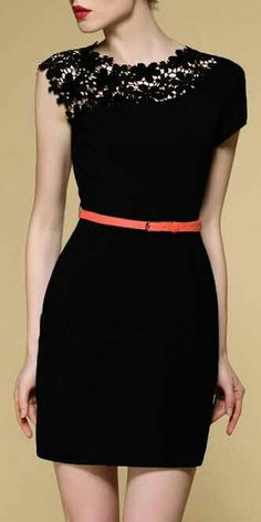 Little black dress ♡♥ love the lace detailing and skinny colored belt!