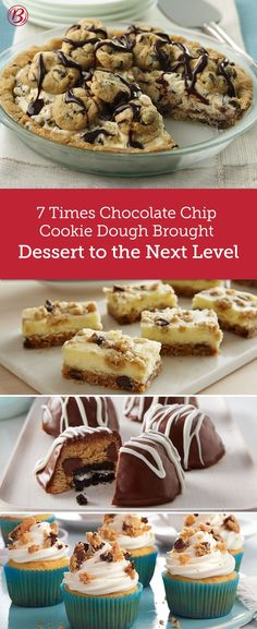Chocolate chip cookie dough is capable of so much more than just classic cookies, and we've got the treats to prove it. From ice cream pie to cupcakes and brownies to cookie bombs, these are the recipes that will have you whipping up batches of dough on the regular.