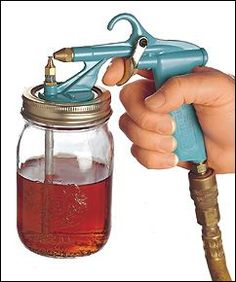 Critter Air-Powered Spray Gun - Lee Valley $52  Clean-up is fast and easy as the liquid is drawn directly from the reservoir and does not flow through the gun.
