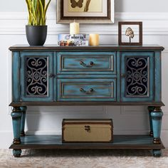 Rustic 2 Door Accent Cabinet with Storage Blue Entryway Console with Drawers & Shelf Style B Drawer Shelves, Large Shelves, Display Shelves, Shelf, Entryway Console, Console Cabinet, White Buffet, Living Essentials, Rustic Blue