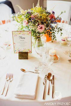 6. Electrical Wedding,Rustic,Tablescape,Centerpieces,stationery,Field flowers / Elektryczne wesele,Dekoracje stołu,Polne kwiat,Anioły Przyjęć