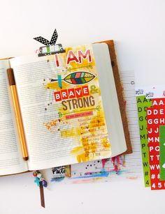 hybrid mixed media Bible Journaling by Elaine Davis | Fear, Dark Tunnels & Big Girl Pants | Illustrated Faith Brave & Strong Workshop