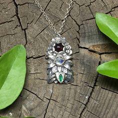 OOAK handmade sterling silver flower pendant with garnet