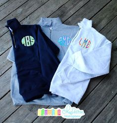 Lilly Pulitzer Applique Monogram 1/4 Zip by CharlestonMonograms, $48.99   OMG THE ELEPHANTS ON THE ASH <3