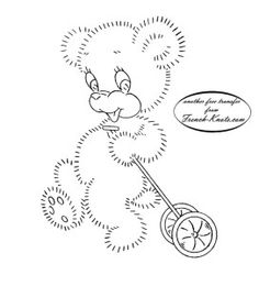 vintage bear embroidery transfer pattern