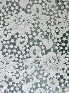 FLORAL GUIPURE LACE FABRIC - White - 50