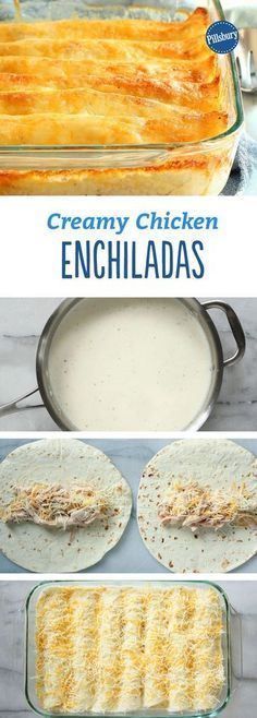 Creamy Chicken Enchiladas: just seven ingredients—and the unexpected addition of Greek yogurt makes for a rich, creamy white sauce that can't be beat. And of course, the whole thing is finished with piles of ooey, gooey cheese. Mexican Food Recipes, New Recipes, Cooking Recipes, Favorite Recipes, Recipies, Special Recipes, Crockpot Recipes, Healthy Recipes, Vegetarian Recipes