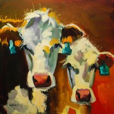 """Diane Whitehead cow painting """"Sibling Cows""""  I need this to go with my other cow painting."""