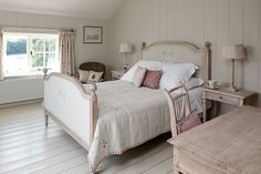 This full bed in Gustavian is available to order online. The Moonflower cushions on the bed link to the purple tones on the Hydrangea Linen curtains. House Proud, My House, Moonflower, Linen Curtains, Full Bed, Cottage Homes, Bedroom Inspiration, Furniture Making, Sweet Dreams