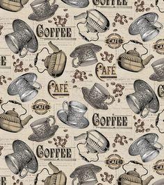 Novelty Cotton Fabric-Antique Cafe