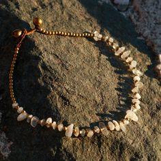Necklace Cross Stitch with Local MotifGOA Boho Ethno Nature Healing Stone Energy Chakra Shamanic Handmade Jewelry