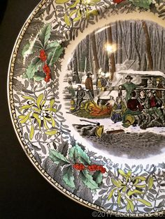 Set of Six Vintage Currier \u0026 Ives Adams China Christmas Dinner Plates : xmas dinner plates - pezcame.com
